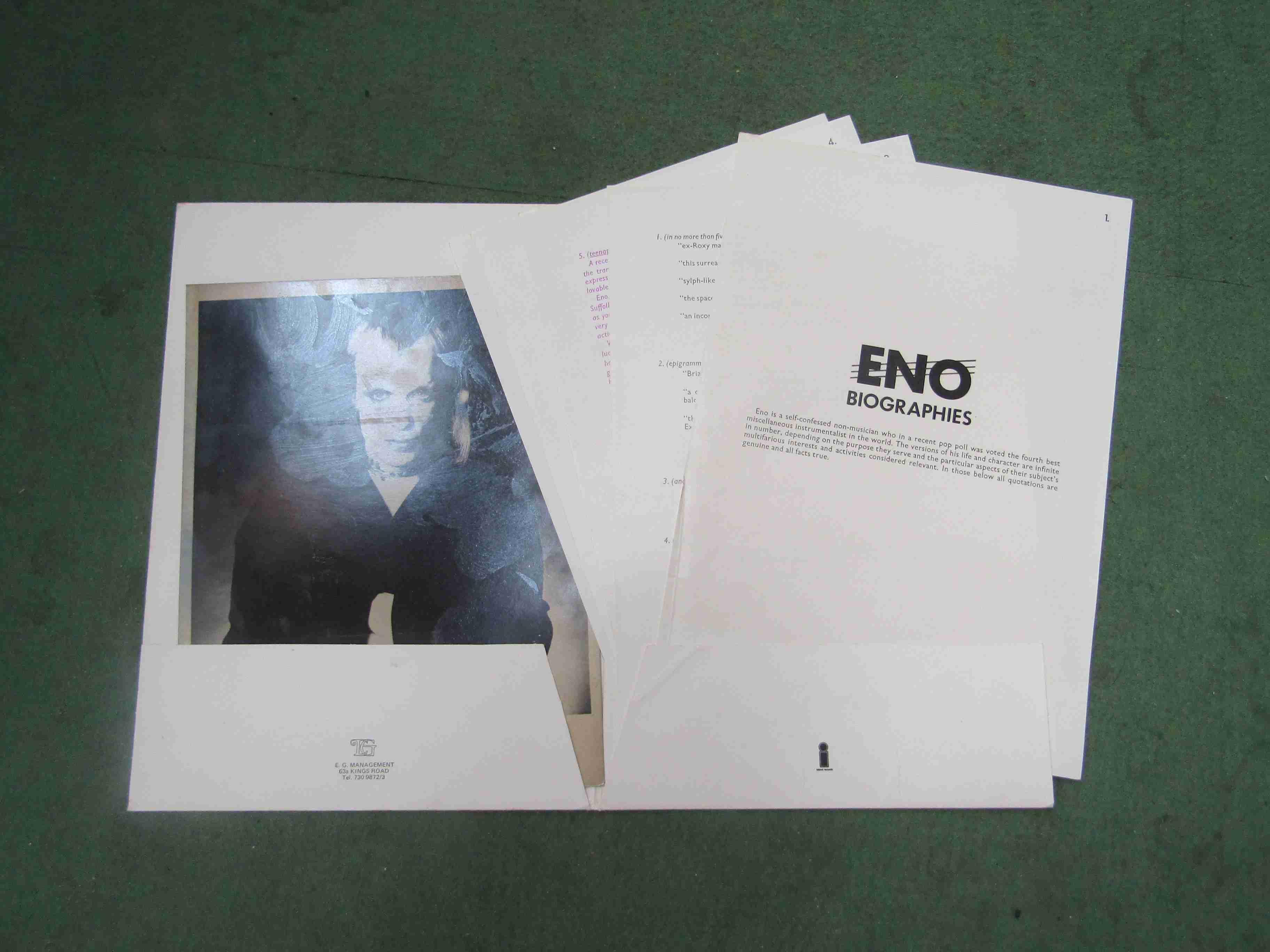 BRIAN ENO: An Island Records Eno press kit including promo photograph, - Image 2 of 2