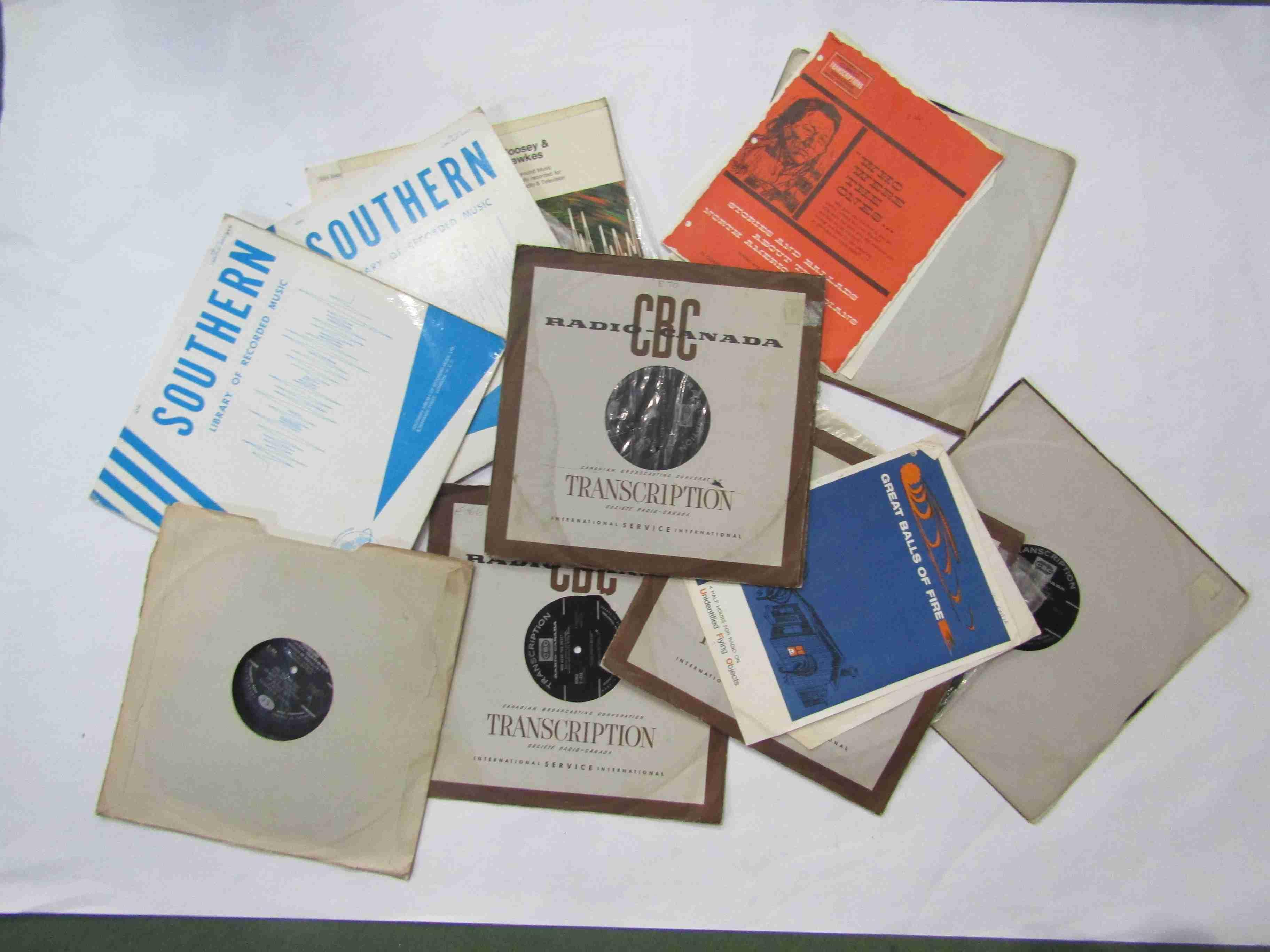 Seven CBC Radio Canada radio transcription records and three library music records (10 - media