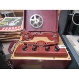 An Ampro model 731 reel to reel tape recorder