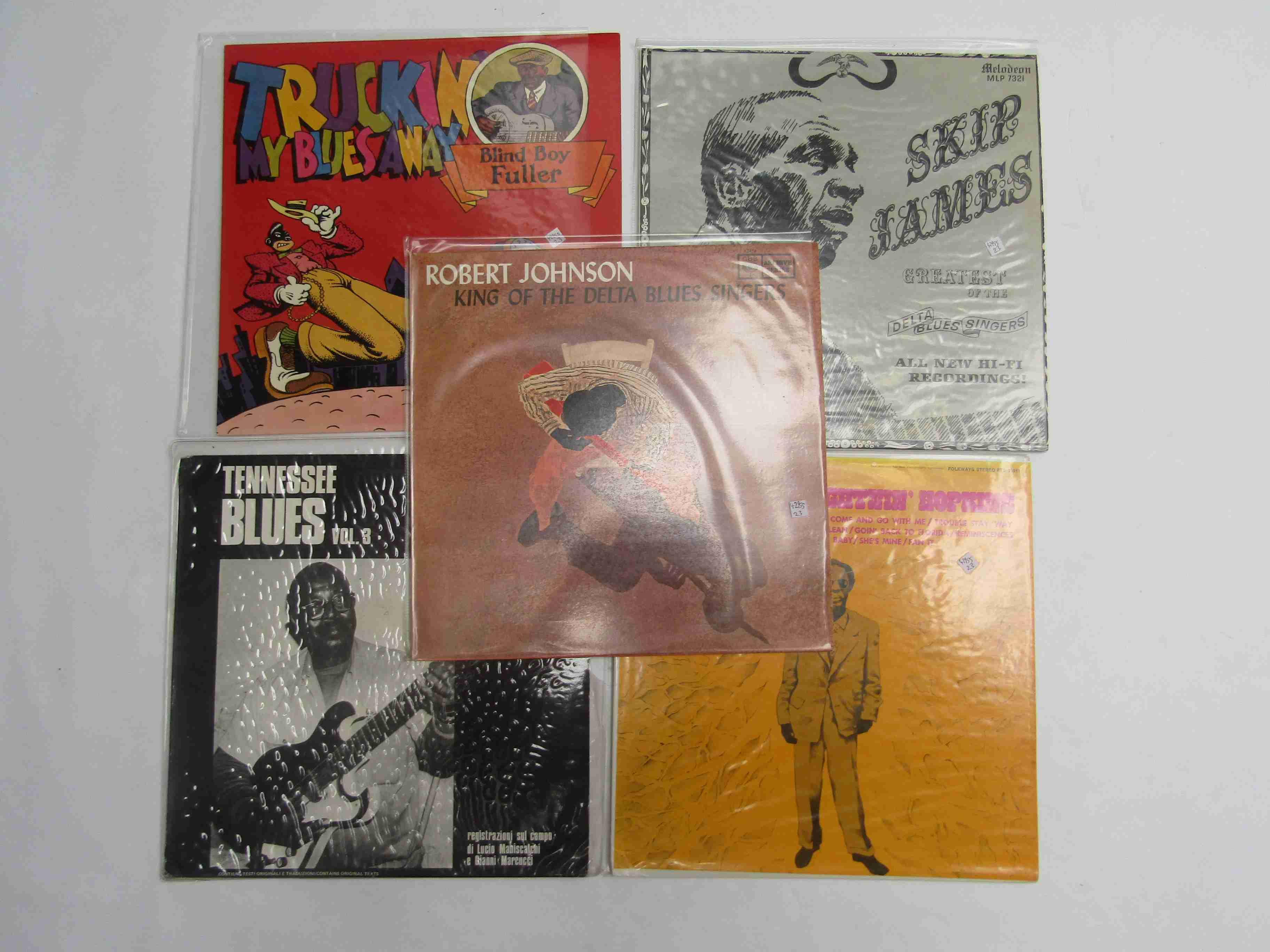 Five assorted Blues LPs to include Lightnin' Hopkins 'The Roots Of Lightnin' Hopkins' (Folkways