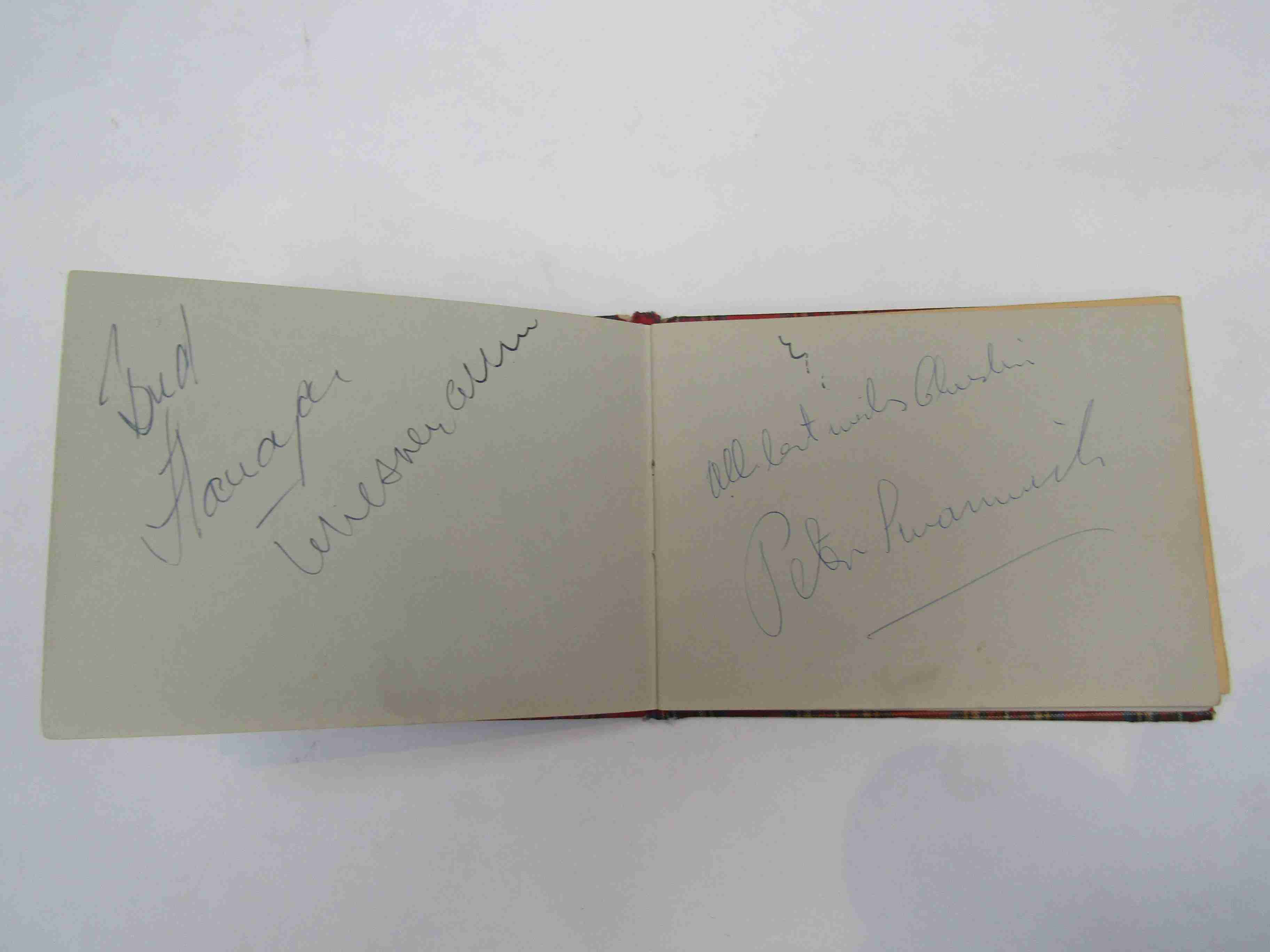 Two 1950s/60s autograph books containing autographs by Benny Hill, Honor Blackman, Barbara Shelley, - Image 18 of 34
