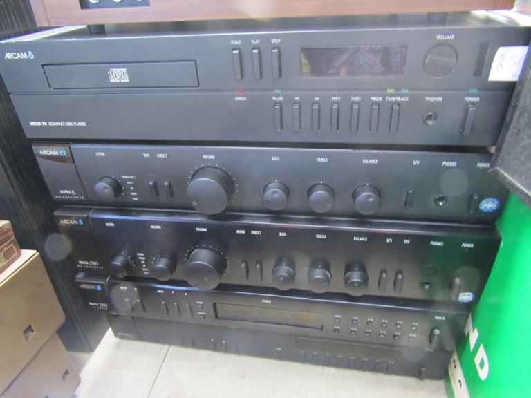 Five Arcam hifi items to include Delta 70 CD player, Alpha 6 amplifier, Delta 290 amplifier,