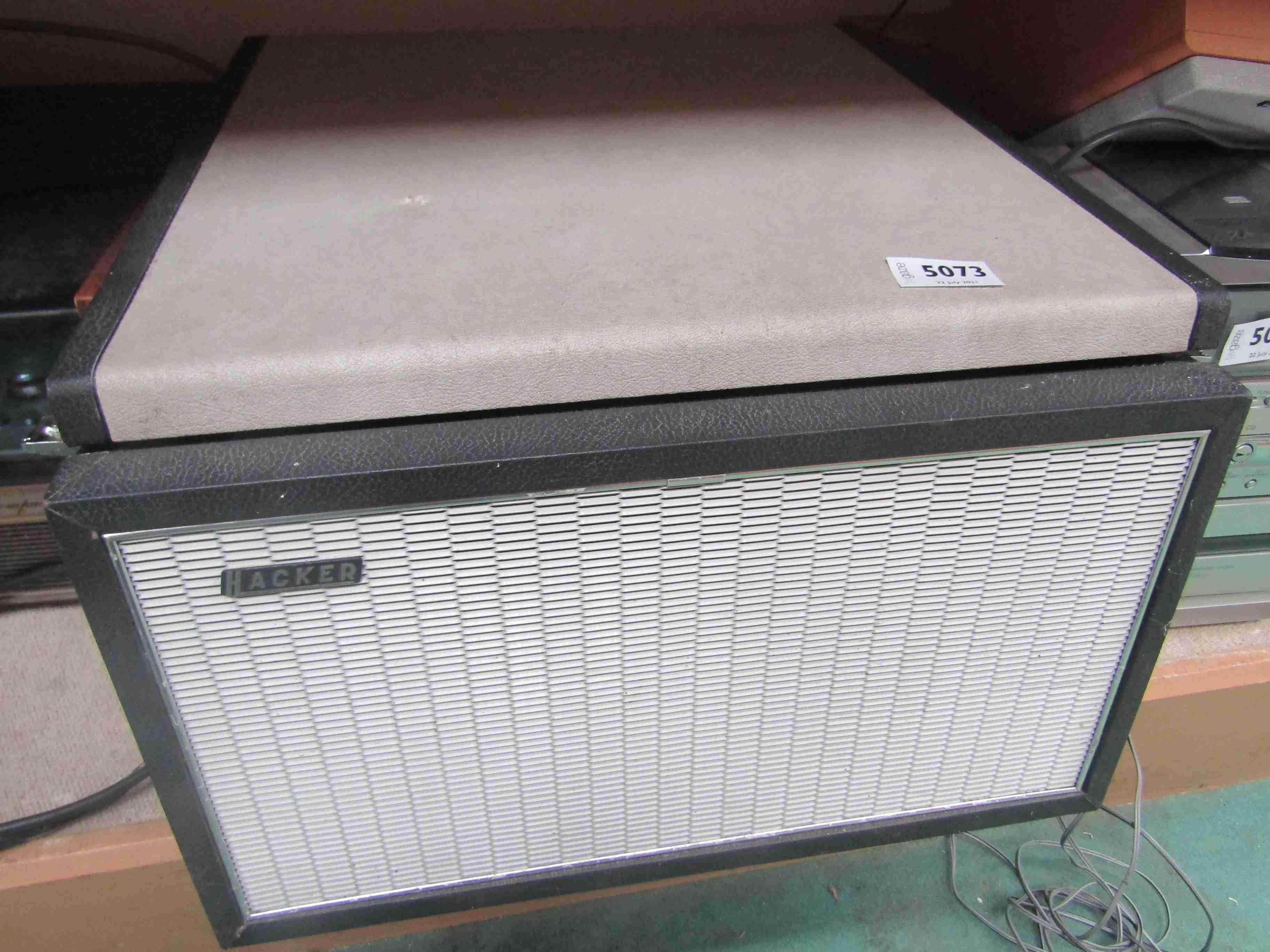 A vintage Hacker portable record player