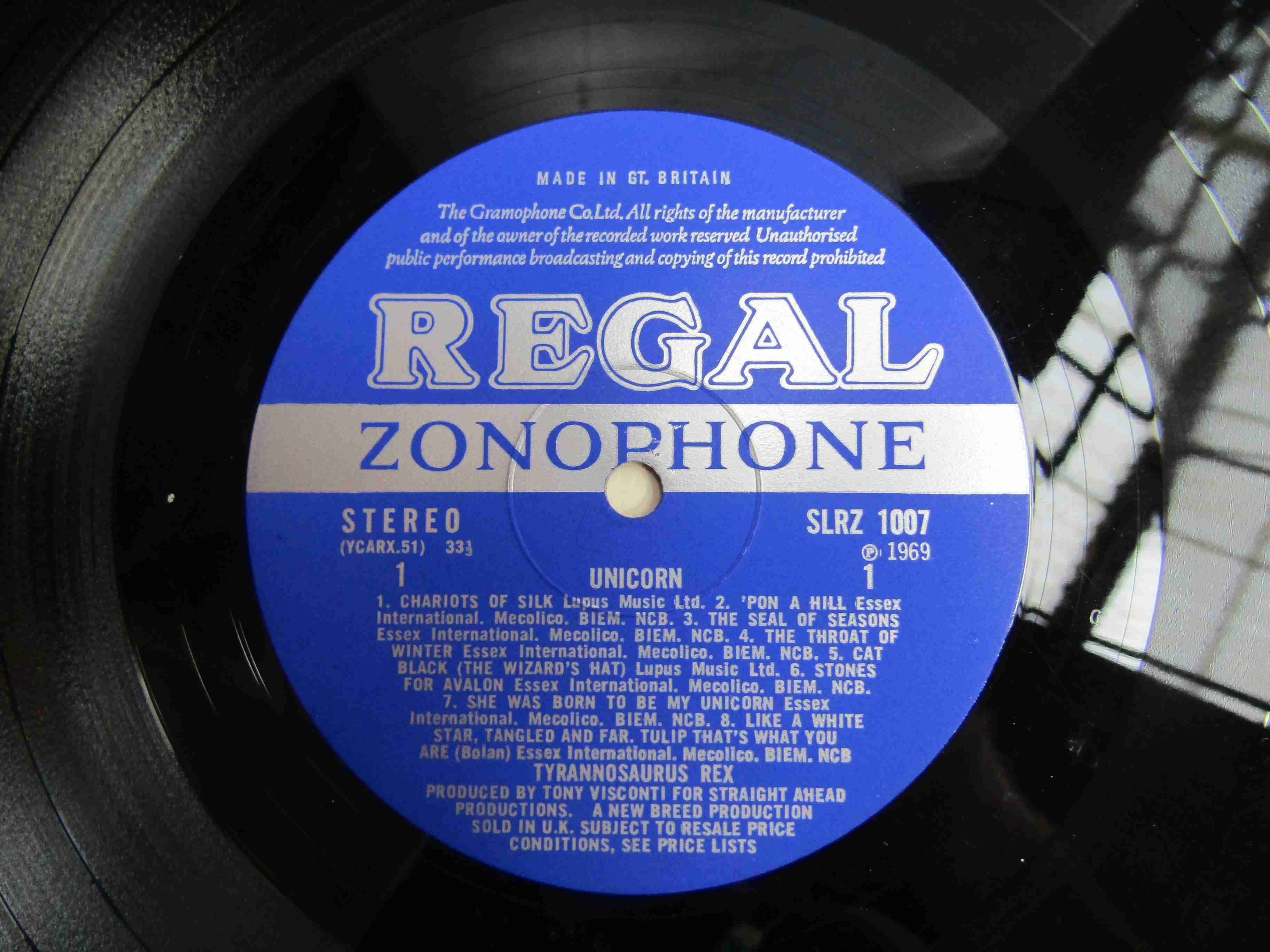 TYRANNOSAURUS REX: 'Unicorn' LP, Regal Zonophone SLRZ 1007, blue labels (media VG+, - Image 2 of 3