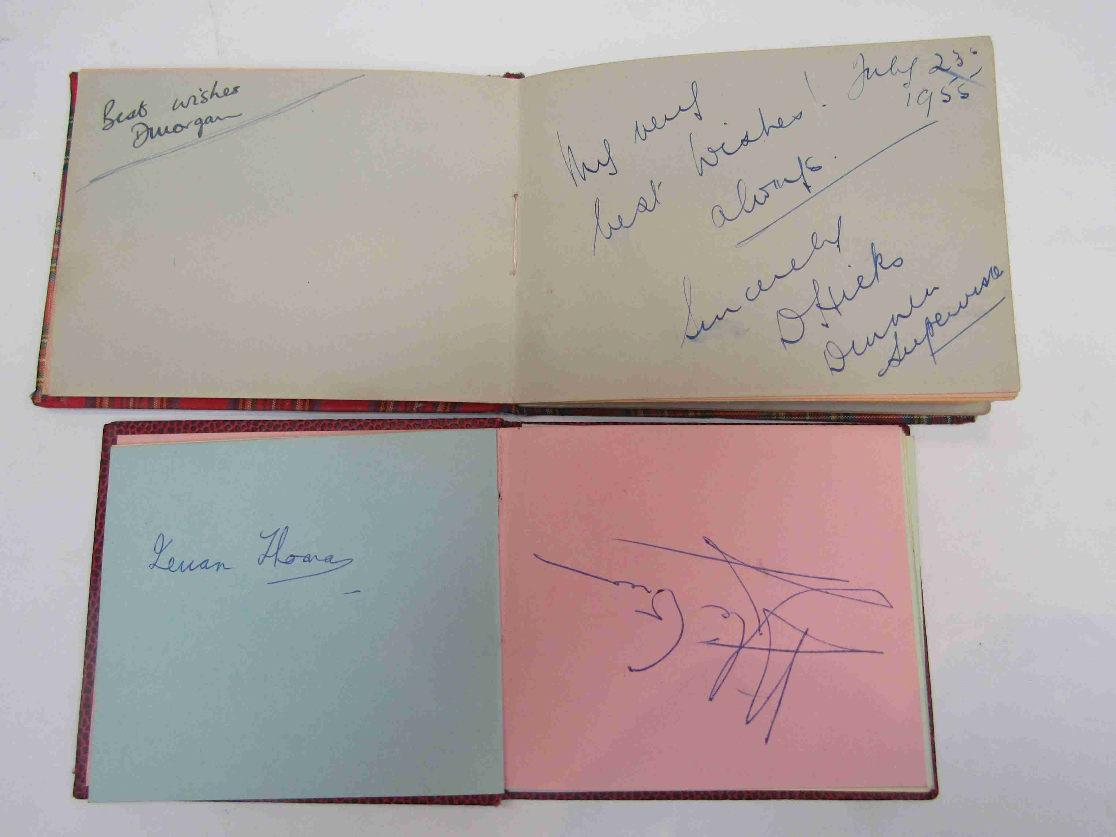 Two 1950s/60s autograph books containing autographs by Benny Hill, Honor Blackman, Barbara Shelley, - Image 11 of 34