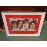 RAY JONES:A framed and glazed pastel portrait of The Beatles, signed by the artist
