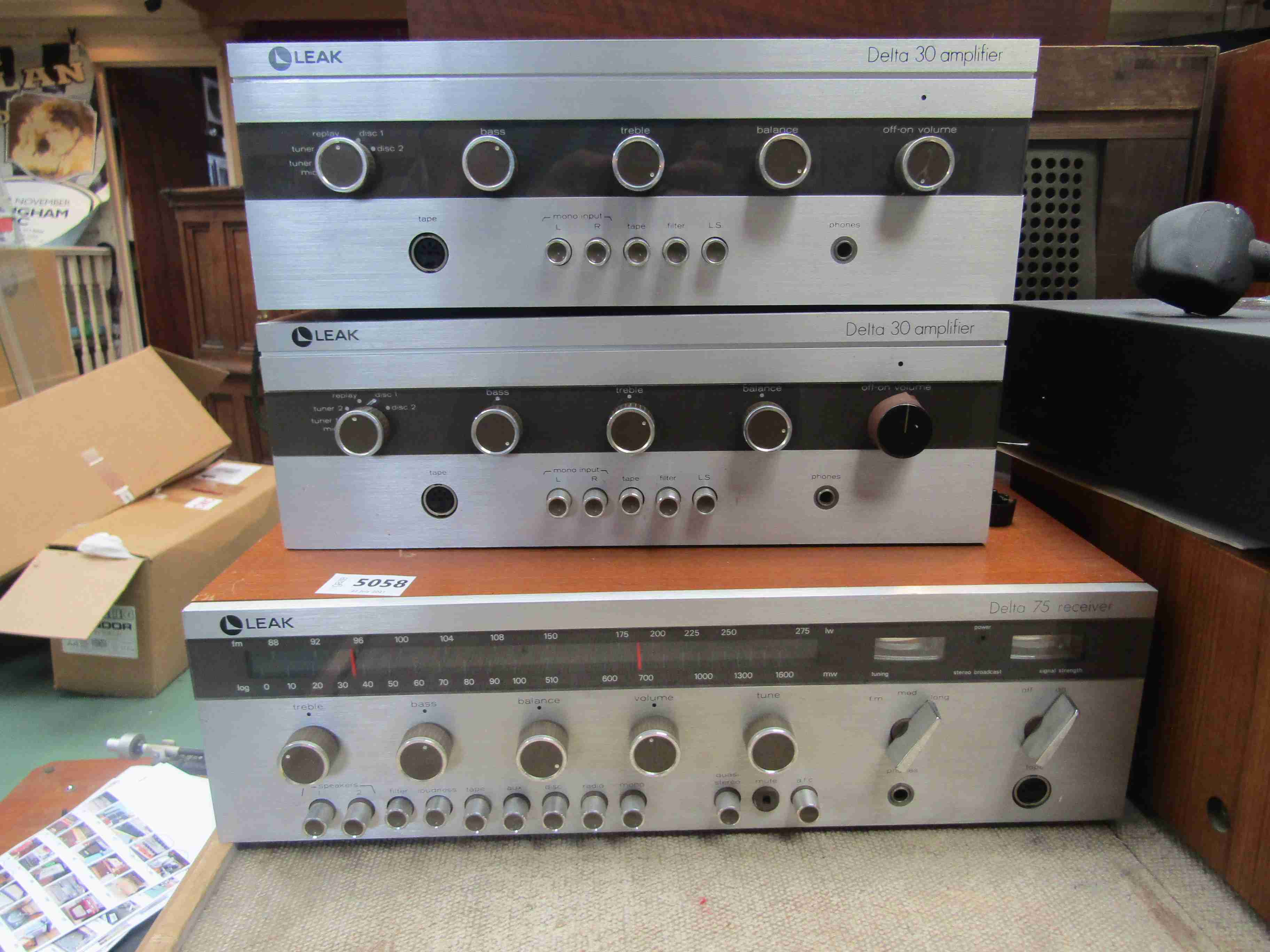 Three Leak hifi items to include a Delta 75 receiver and two Delta 30 amplifiers