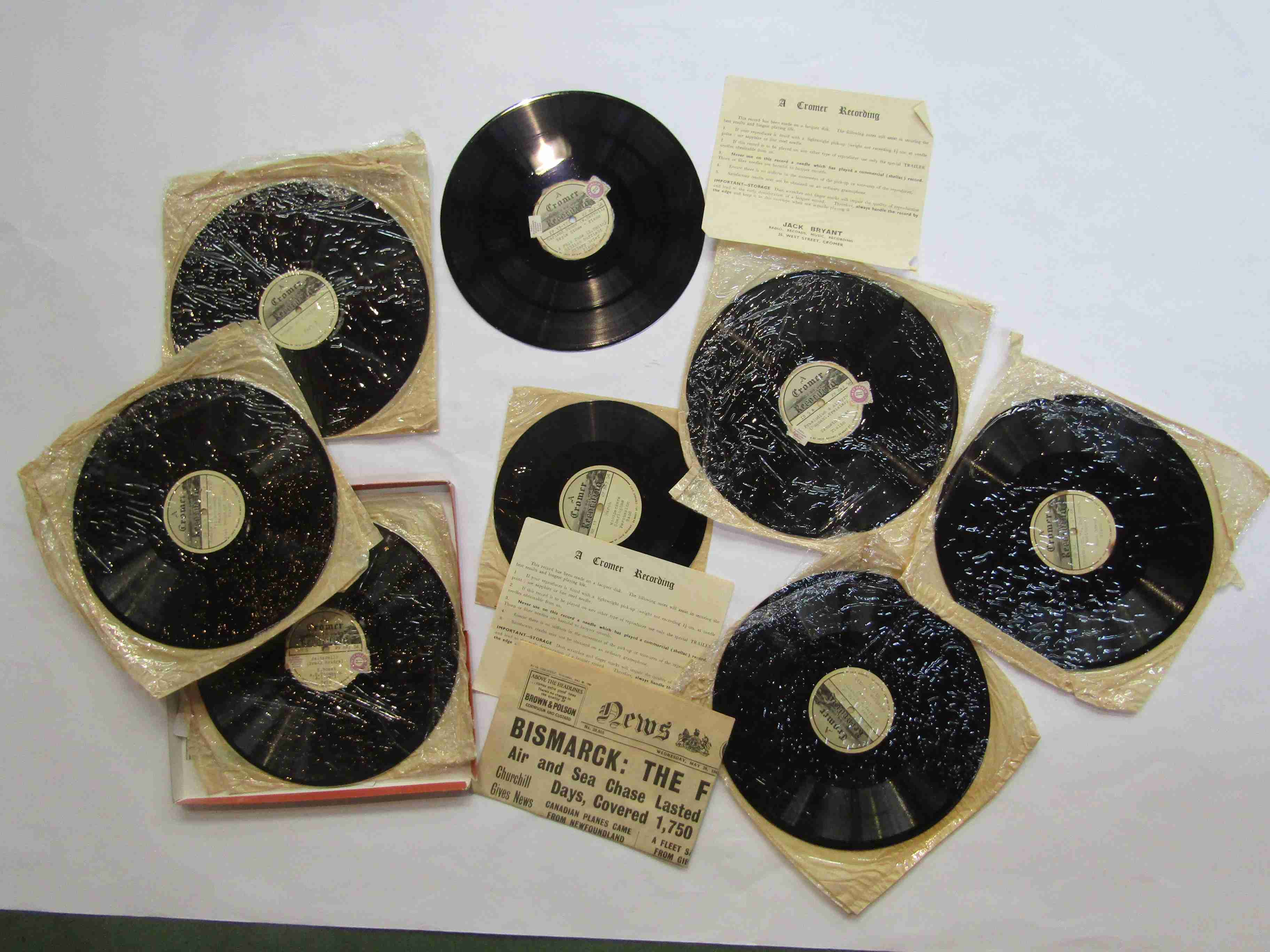 Ten 1950's field recording lacquer disks recorded by Jack Bryant of Cromer and released on his own