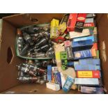 A box of assorted boxed and loose radio valves