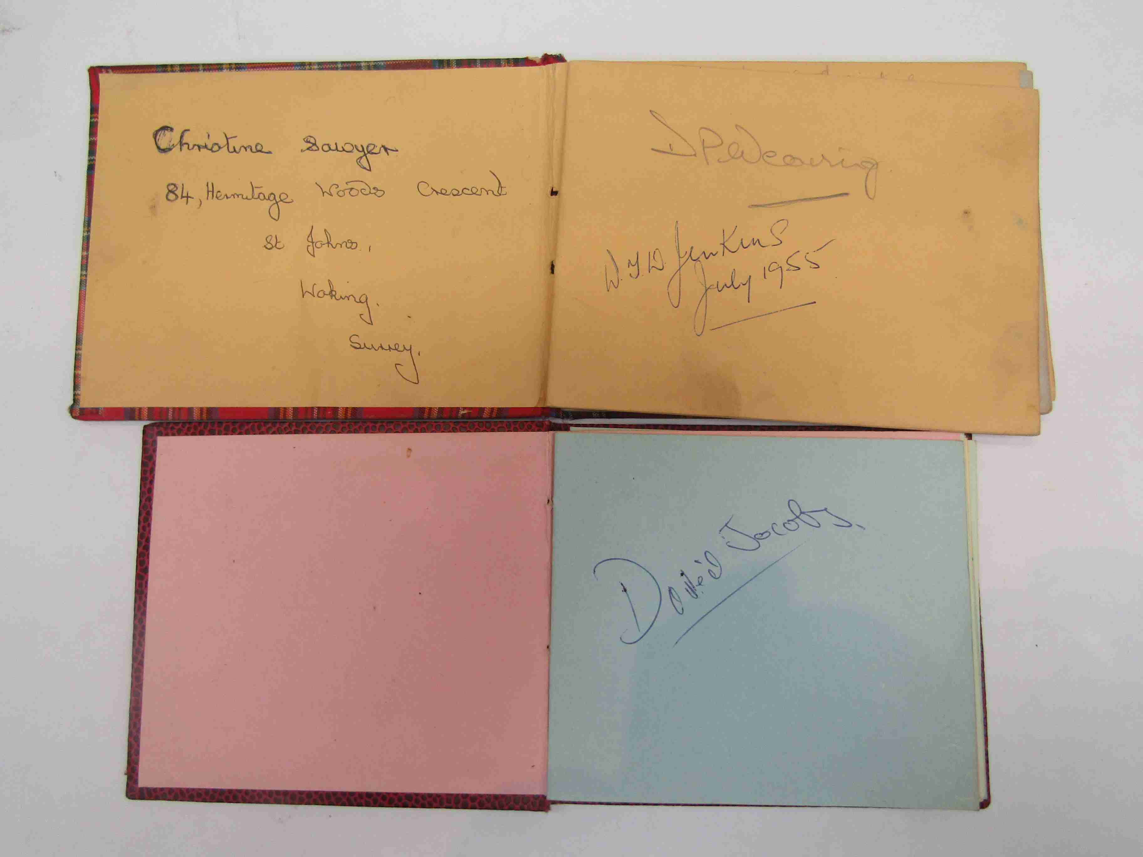 Two 1950s/60s autograph books containing autographs by Benny Hill, Honor Blackman, Barbara Shelley, - Image 7 of 34