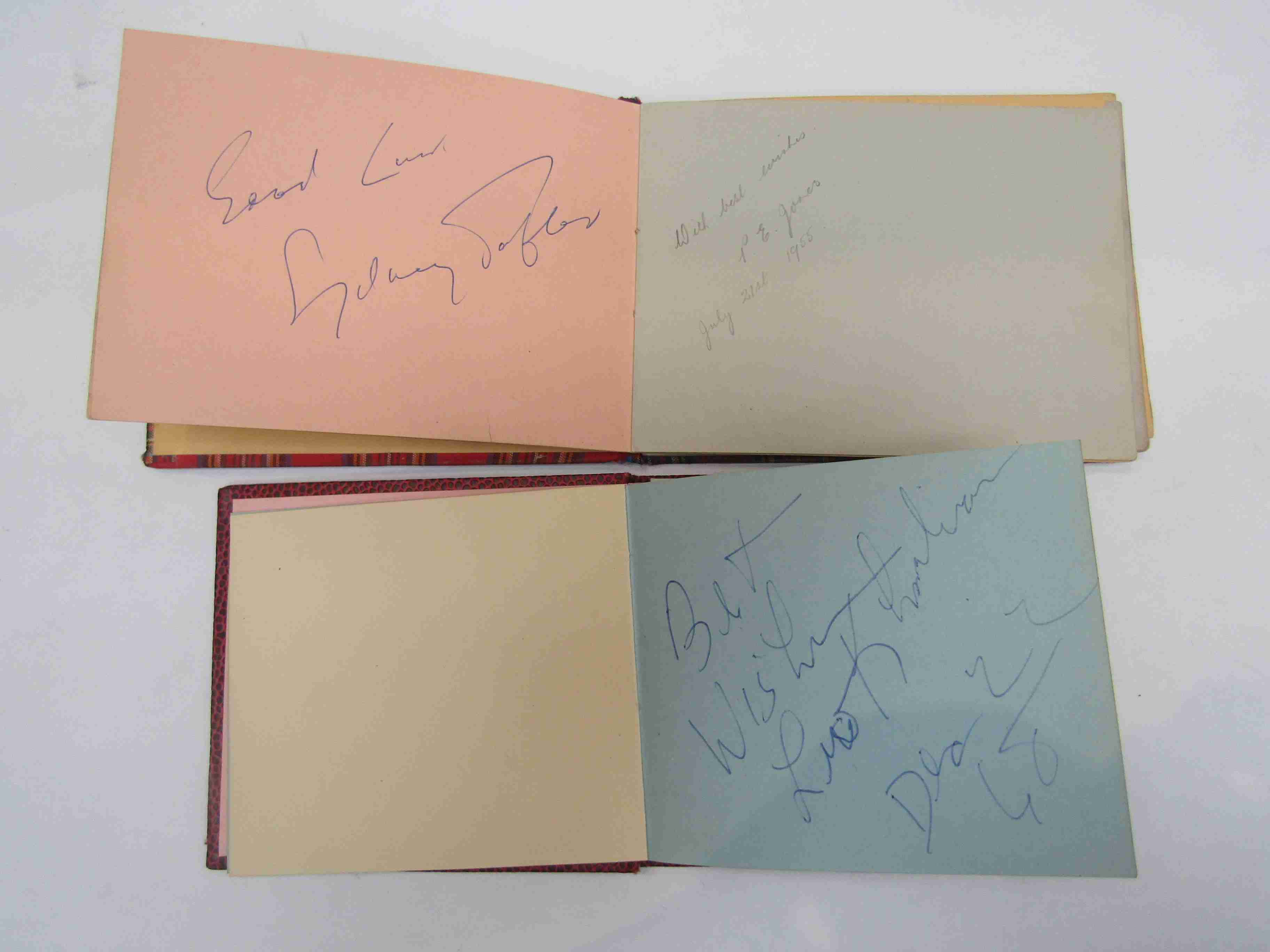 Two 1950s/60s autograph books containing autographs by Benny Hill, Honor Blackman, Barbara Shelley, - Image 10 of 34
