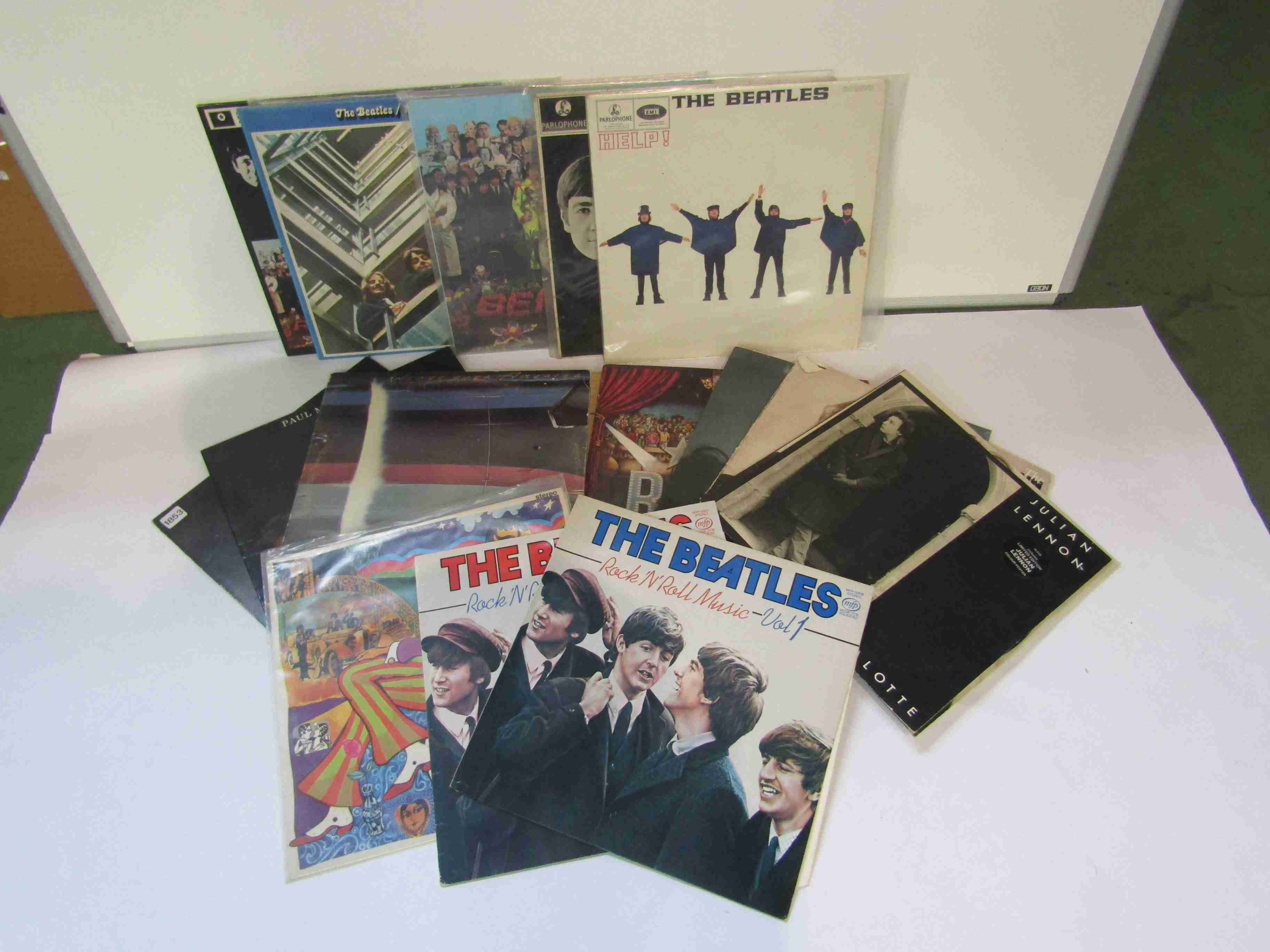 """A collection of Beatles and related LP's and 12"""" singles including 'Help!',"""