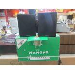 A boxed pair of Wharfedale Diamond III speakers