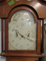 An early 19th Century oak and crossbanded 30 hour longcase clock, painted arched Arabic dial.