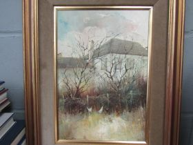 (Peter) FENNELL '86: Oil on canvas, house, trees and chickens,