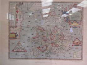 A reproduction of Saxton's 1579 Map of England & Wales, framed and glazed,