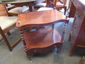 An oak two tier whatnot with single drawer and bobbin-turned supports