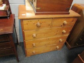 A rustic pine two over three chest of drawers (splits into two pieces) 89cm wide x 92cm high x 46cm