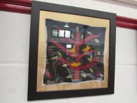 A felt art picture of birds in a tree. Framed and glazed.