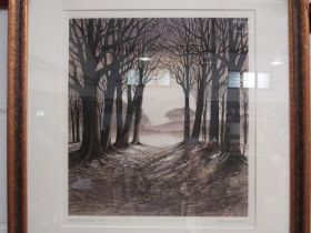 A framed and glazed Kathleen Caddick coloured etching 'Woodland Edge' pencil signed limited edition