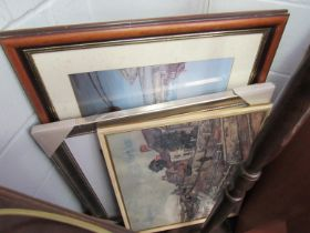 Four framed and glazed pictures of mixed scenes and decorative wall art