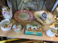 An Oriental butter dish, lidded trinket pots,