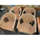 Four wicker conservatory tub chairs