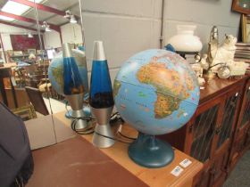 A child's globe light and a lava lamp