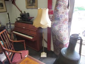 A modern telescopic brass standard lamp with shade