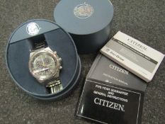 A Citizen Eco-Drive alarm chronograph WR200 gents stainless steel cased quartz watch with perpetual