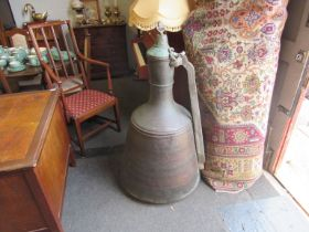 A large Eastern copper jug with loose lid, approx.