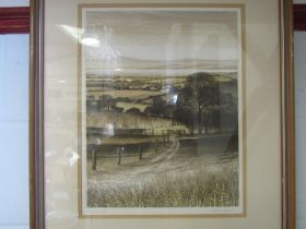 A framed and glazed Kathleen Caddick coloured etching 'The Estuary' pencil signed limited edition