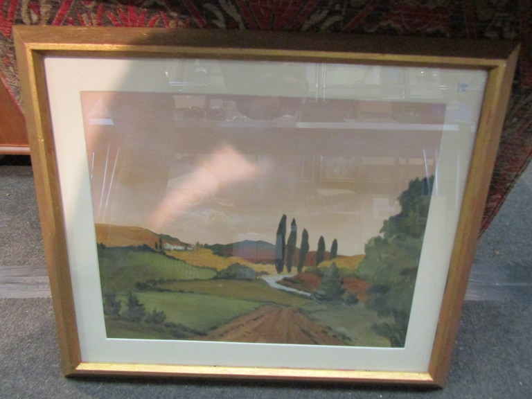 After Jean Noe Clark, print, sunny Tuscan road (Italy), signed in the plate lower left,