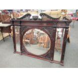A 19th Century carved mahogany framed three panel mirror 159w x 117cm tall
