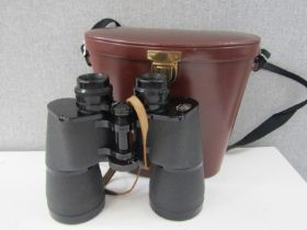 A pair of Carl Zeiss 15x60 binoculars with leather case