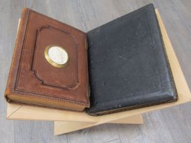 A folio stand together with two Victorian photograph albums (empty)