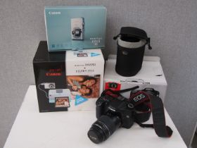 A Canon EOS 40D digital SLR camera with 55-200mm and EFS 17-85mm lenses. box and accessories.