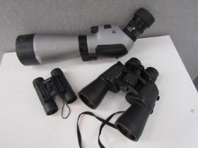 A group of binoculars including Tasco together with a Zeiss 15-45xB/20x60x B spotting scope a/f