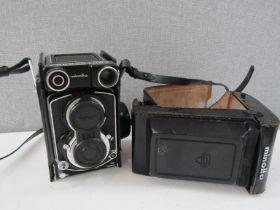 A Minolta Autocord twin lens reflex camera