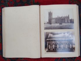 A leather bound album of circa 1900 photographs depicting ecclesiastical,