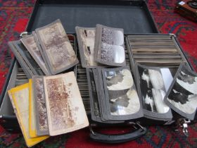 A case containing a collection of stereoviews including world scenes, Egypt, architecture,