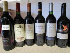 12 bottles of various red wines including 2001 Bin 50 Shiraz, Medoc, Merlot, Rioja,