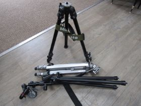 Three camera tripods including Benbo and Manfrotto