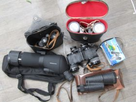 A quantity of binoculars including USSR Tento 7x35 and Maginon spotting scope etc (6)