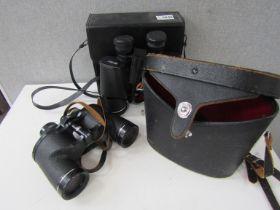 A pair of Asahi Pentax 8x40 wide field binoculars and Pentax 16x50 model 6010 binoculars,