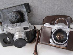 A Zorki 4 rangefinder camera and a Kowaflex,