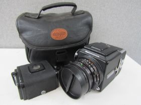 A Hasselblad 500C/M medium format camera with Planar 2.