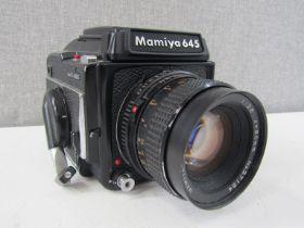 A Mamiya 645 1000S medium format camera