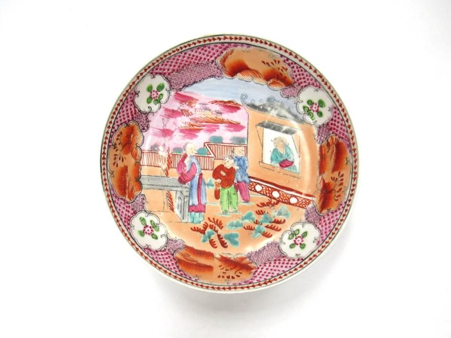 A Newhall polychrome tea bowl and saucer - Image 3 of 4