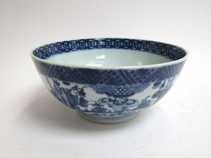 A 19th Century Chinese blue and white bowl with character marks to base,